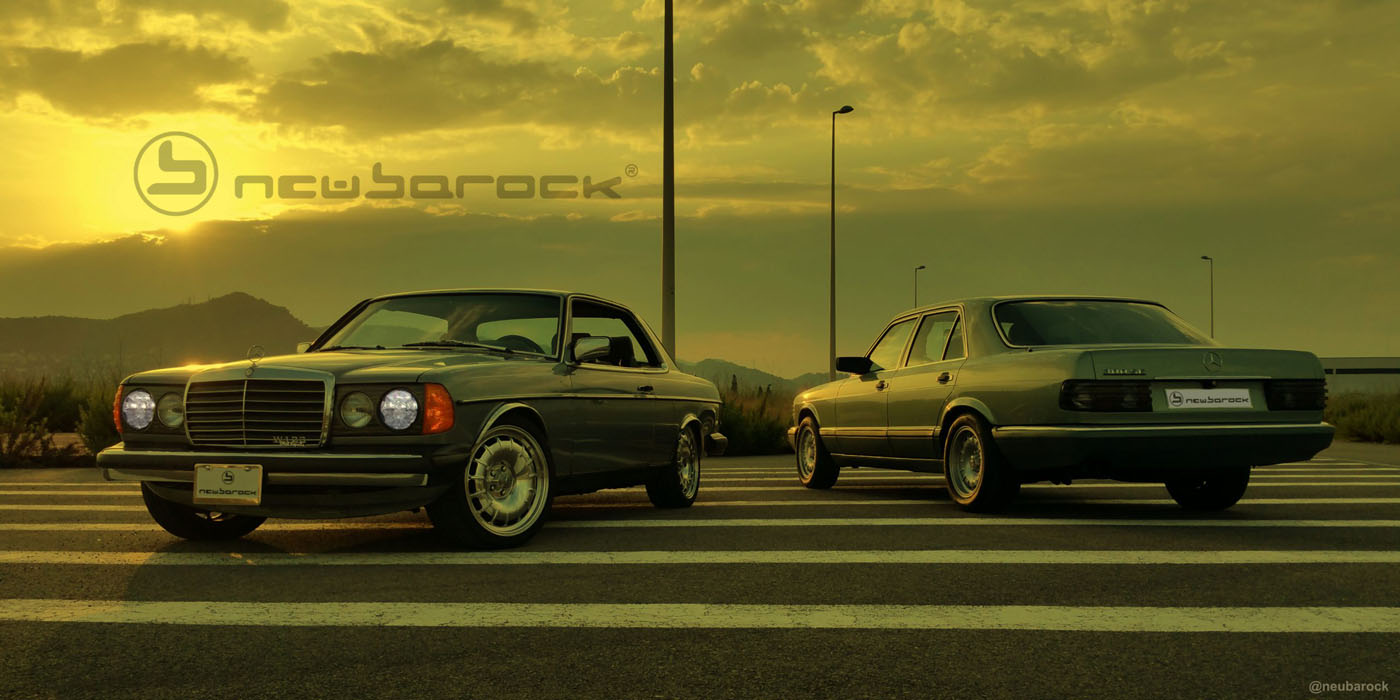 C123 US version with the neuBarock® Eleganz 8×18 ET18 in polished finish and the euro W126 with the 7×16 ET23 -front- and 8×16 ET11 -rear- prototypes in silver painted
